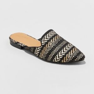 Universal Thread Woven Backless Slip On Mules NWOT